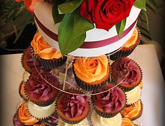 Autumn wedding cupcake tower