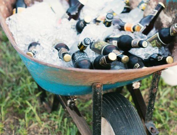 Backyard BBQ wedding drink bar ideas