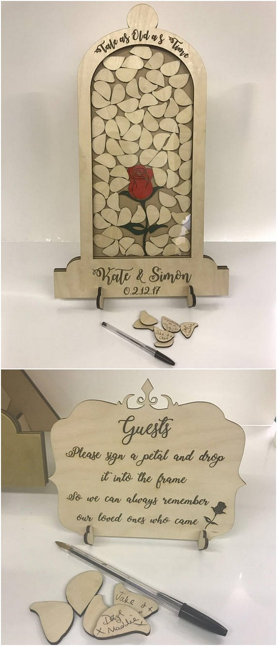 Top 15 Rustic Framed Wooden Wedding Guest Books Roses