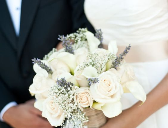 Bouquet-love the lavender with the white roses and baby's breath
