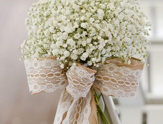 Burlap lace and baby's breath wedding aisle chair decor
