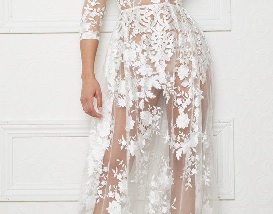 Lurelly bohemian wedding dress sheer-embroidered