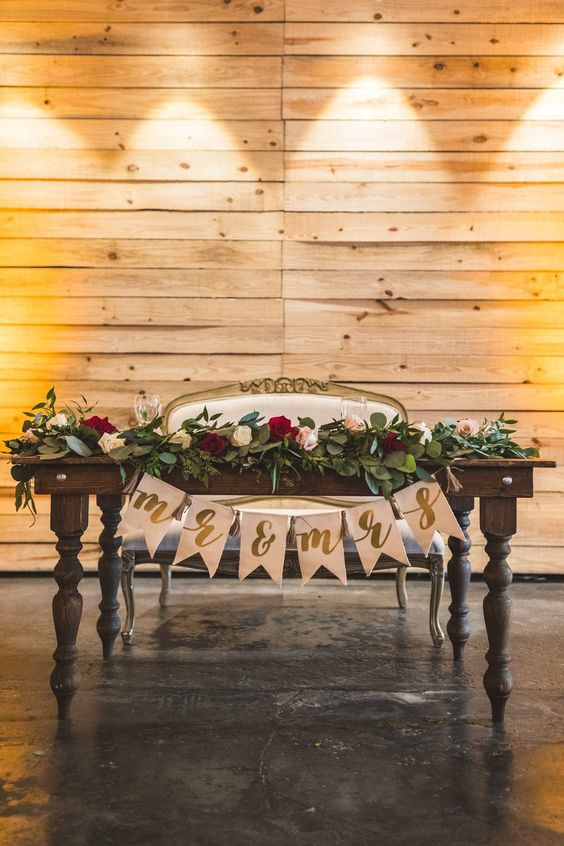 20 Fall Wedding Reception Sweetheart Table Ideas