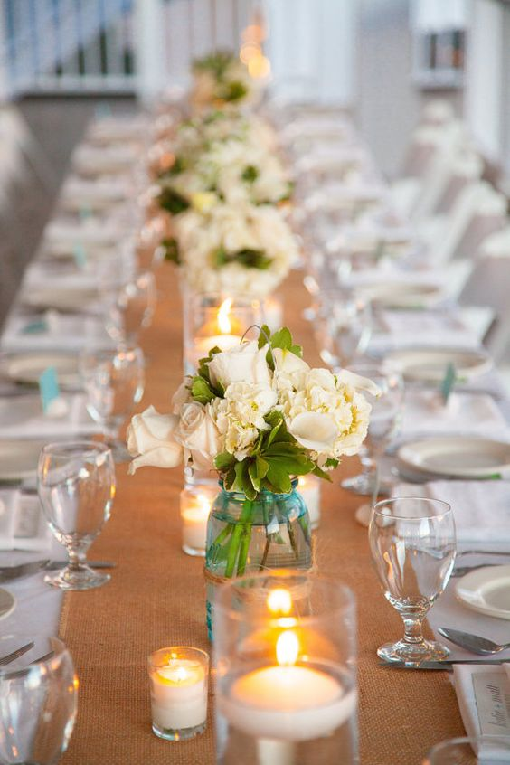 20 rustic burlap wedding table decor ideas roses rings source favors and flowers natural burlap wedding table runner junglespirit Images