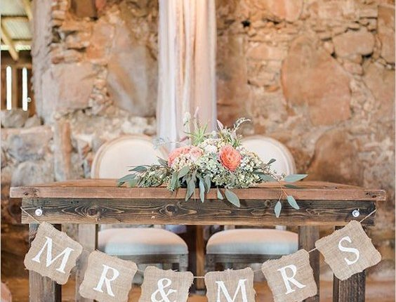 Rustic Pink Shabby Chic Wedding Sweetheart Table