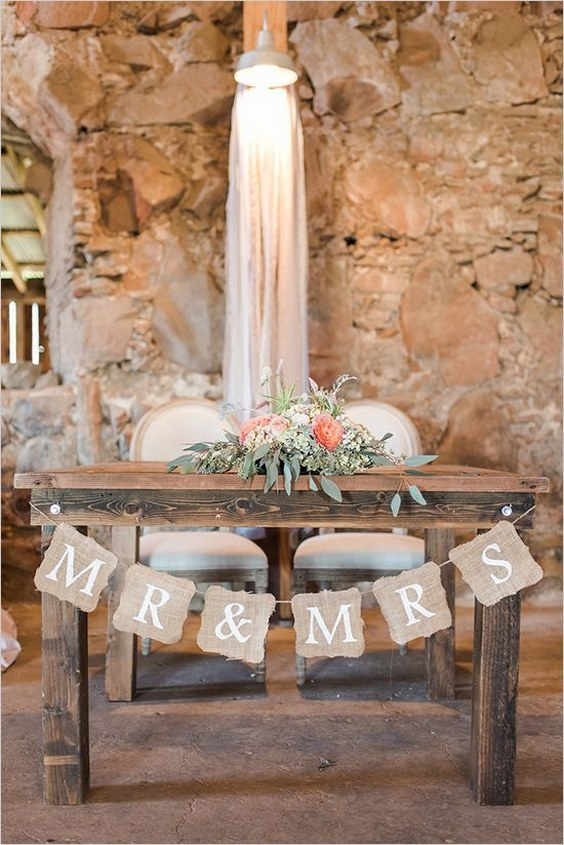 20 Rustic Country Wedding Head Sweetheart Table Ideas Roses & Rings