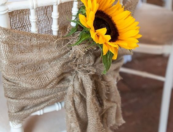 Sunflowers and Burlap Wedding Chair Decor for Rustic Wedding