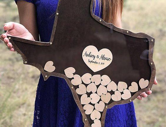 Texas Shape Drop Wood Wedding Guest Book