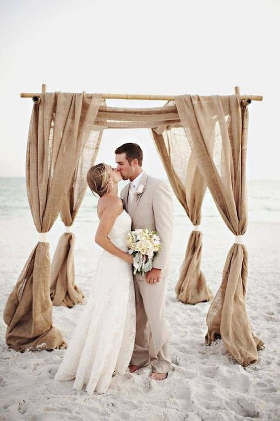 Top 20 Rustic Burlap Wedding Arches & Backdrop Ideas | Roses & Rings