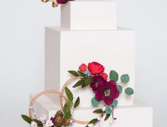 boho square wedding cake from Ron Ben-Israel Cake