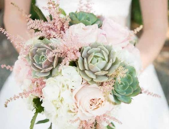 bridal bouquet with succulents, astilbe and roses
