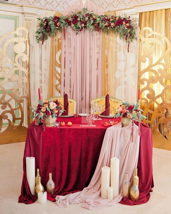 Fall Wedding Inspiration: 20 Fall Wedding Reception – Sweetheart Table Ideas