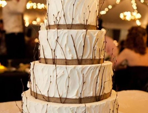country rustic burlap wedding cakes
