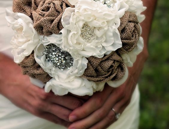 hand-sewn fabric burlap bridal bouquet