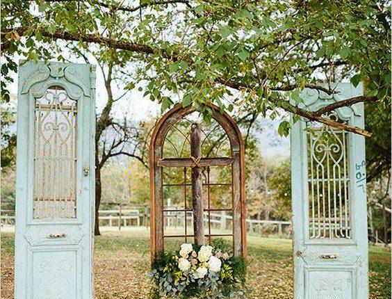old door wedding back drop