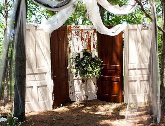 old doors backyard wedding backdrop
