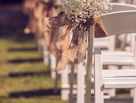 rustic baby's breath and burlap wedding aisle chair decor