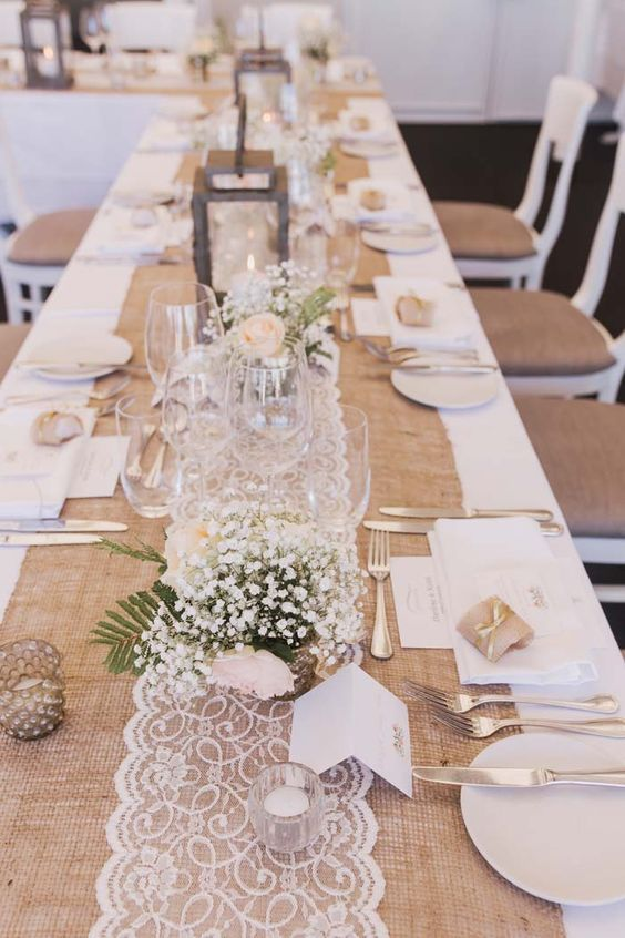 20 Rustic Burlap Wedding Table Decor Ideas | Roses & Rings