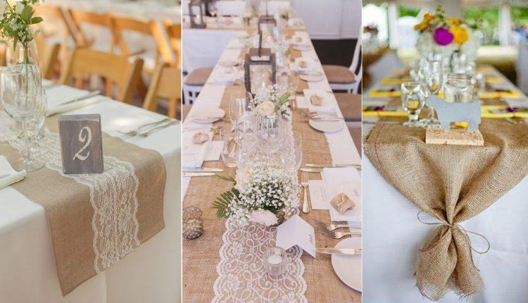 rustic burlap wedding table runner ideas