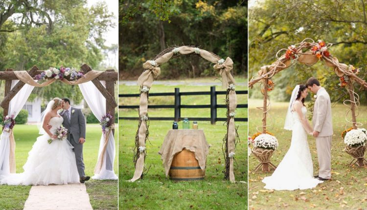 rustic country burlap wedding arches