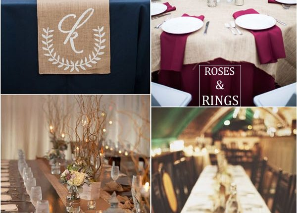 rustic country burlap wedding table decor ideas