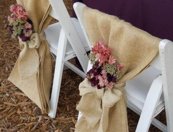 rustic fall purple wedding flowers and burlap wedding chair decor