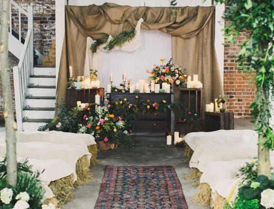 rustic indoor burlap wedding ceremony backdrop