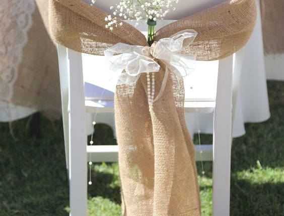 rustic lace and burlap wedding chair decor