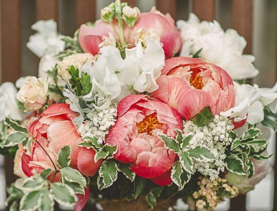 rustic summer peonies burlap wedding bouquet