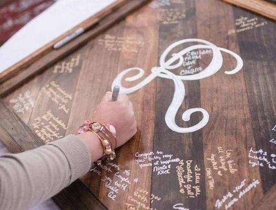 rustic wooden frame wedding guest book