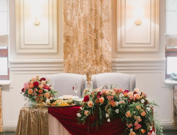 Fantastic Vintage Fall Gold Burgundy And Greenery Wedding Head Table Download Free Architecture Designs Licukmadebymaigaardcom