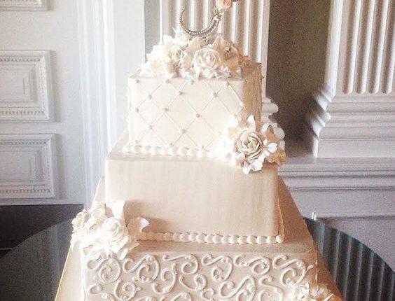 vintage modern cream wedding cake