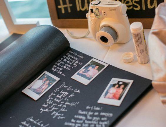 vintage polaroid wedding guest book