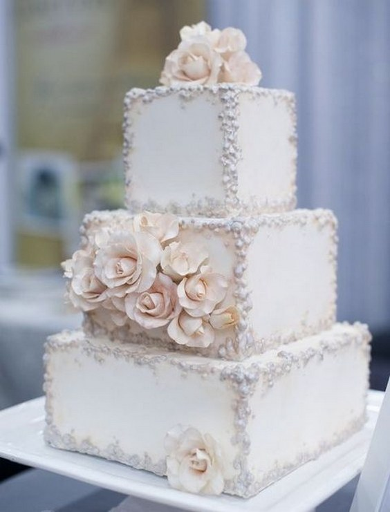 Top 20 Square Wedding Cakes That Wow Roses Amp Rings Part 2