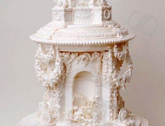 white baroque wedding cake