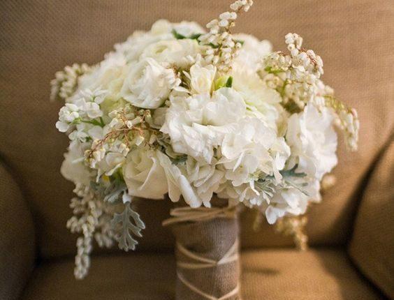 white hydrangea wedding bouquet with burlap