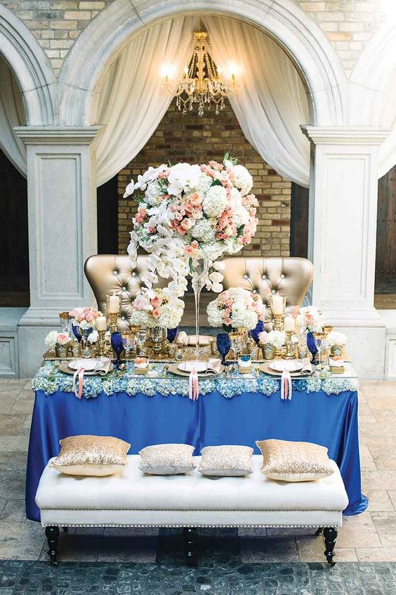 Vintage Luxury Regal Blue Sweetheart Table Decor