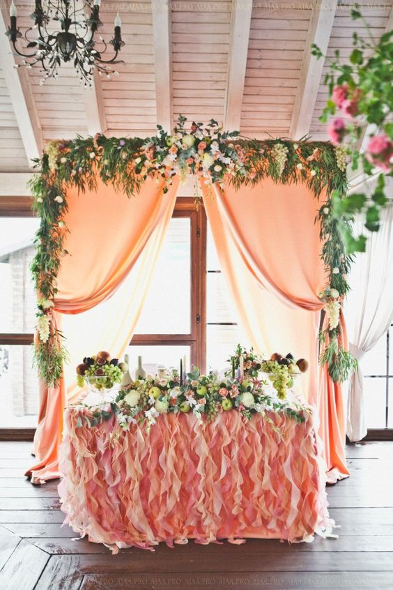 greenery and coral sweetheart wedding table