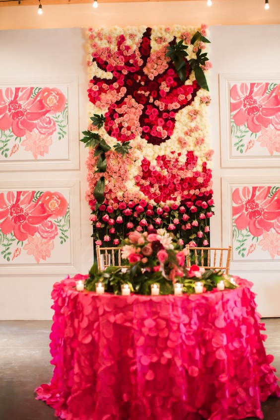 hot pink roses wedding sweetheart table backdrop