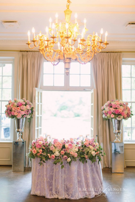 luxury pink and lilac wedding sweetheart table