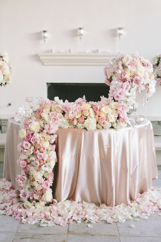 luxury rose pink and ivory round wedding sweetheart table