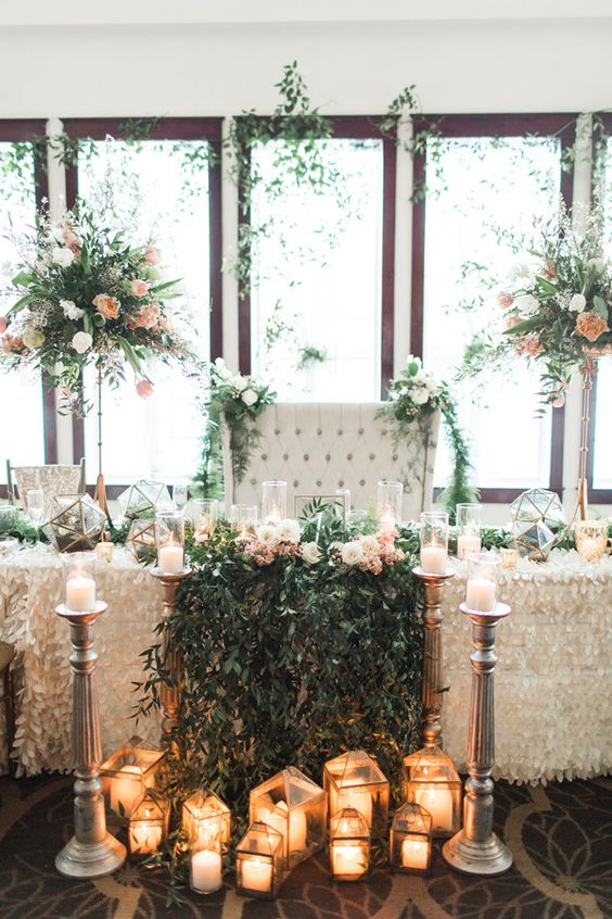 romantic garden wedding sweetheart table