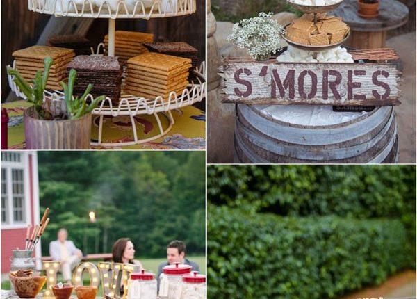 rustic wedding dessert ideas – rustic smores wedding bar ideas
