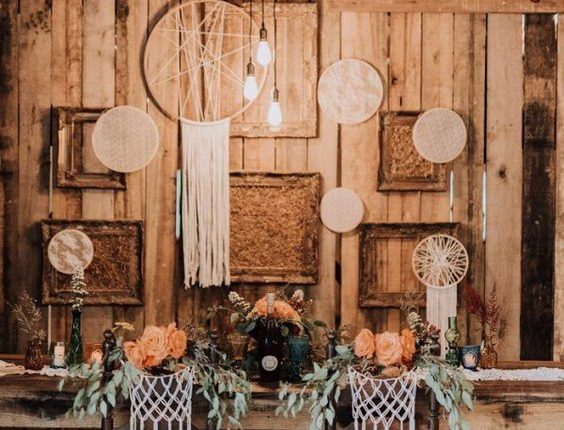 vintage bohemian sweetheart table for wedding reception