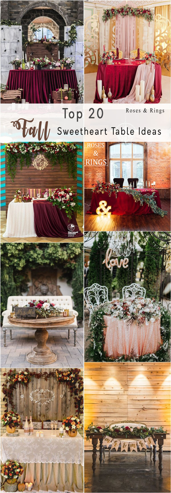 20 Fall Wedding Reception – Sweetheart Table Ideas | Roses & Rings