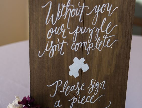 Custom Wooden Puzzle Guest Book