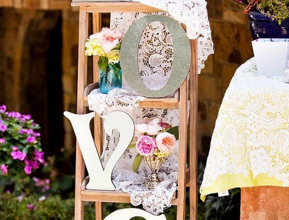Vintage Lace + Pastels ladder wedding decor