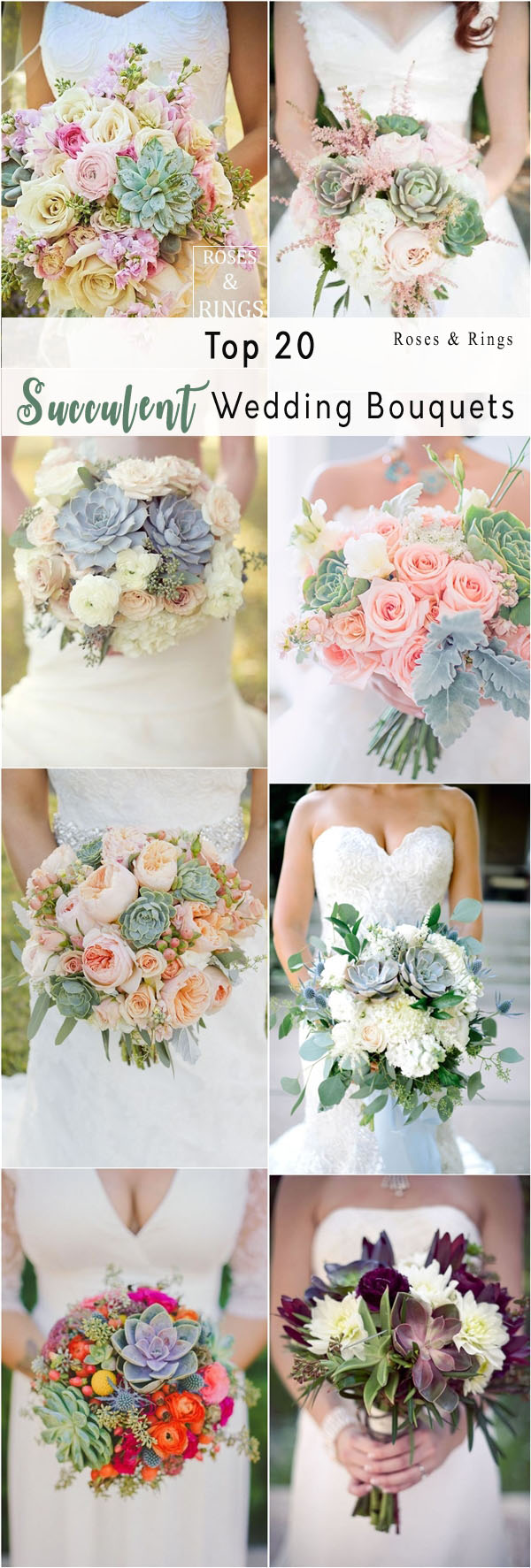 Top 20 Rustic Succulent Wedding Bouquets | Roses & Rings