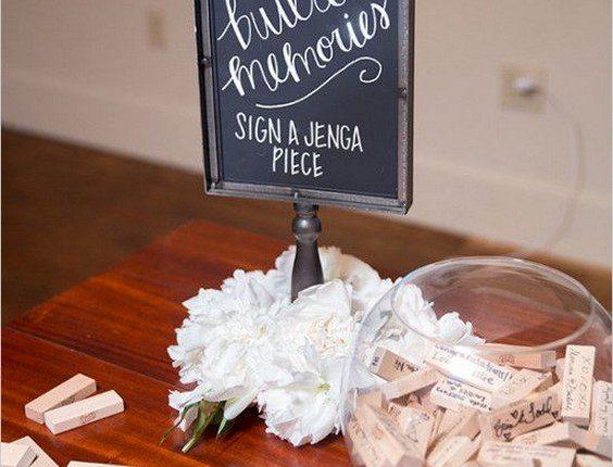 jenga wedding guestbook idea