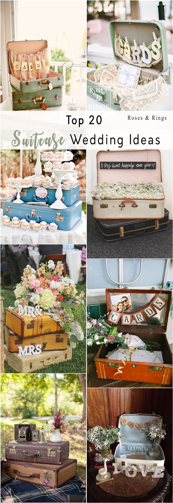 Top 20 Vintage Suitcase Wedding Decor Ideas | Roses & Rings